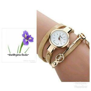 NWOT-Woman's Faux Leather Tan & Gold Quartz Watch